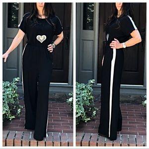 Pants - Black with side white stripe wide leg jumpsuit